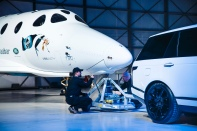 Land Rover's partnership with Virgin Galactic celebrated as Range Rover Autobiography tows new spaceship VSS Unity at global reveal and naming event with Sir Richard Branson at the Mojave Air and Space Port, California, USA